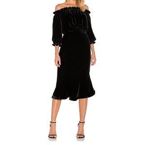 Saloni black velvet Grace dress US 4 UK 8 NWT
